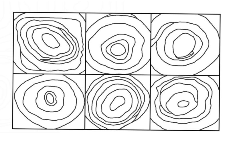 """Rug Hooking Pattern """"6 SQUARES CONCENTRIC CIRCLES"""" on natural linen"""