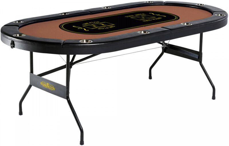 Barrington Poker Table 10 Player Texas Holdem Game Casino Foldable Cup Holders