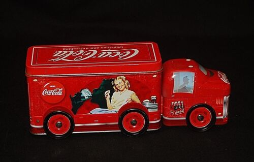 Vintage Style Advertising Coca Cola Coke Red Delivery Truck Tin w Removable Lids