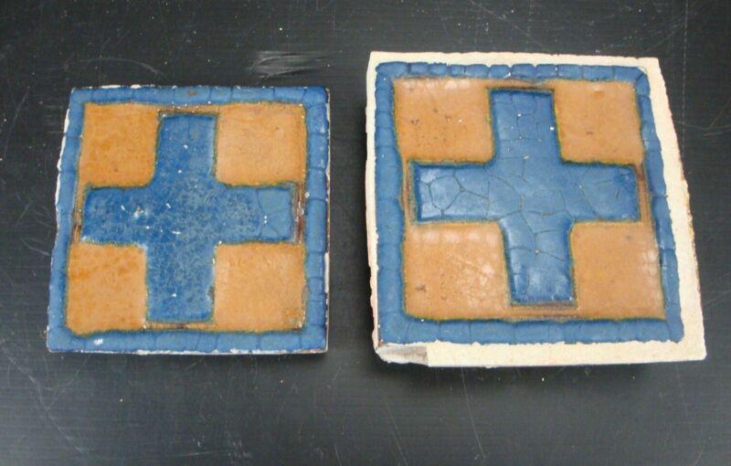 "(2) VERY RARE - Grueby Pottery Tile - (2 COLORS) - GEOMETRICS - 4"" x 4"""