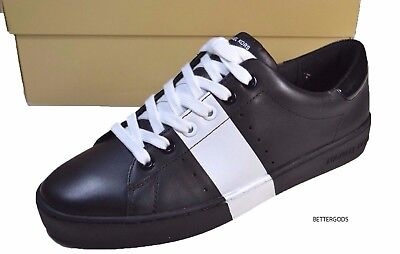 MICHAEL KORS women's BRADY SNEAKERS Lasered Leather Lace Up Shoe BLACK/WHITE 8 M