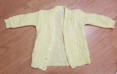 Vintage Baby Girl Acrylic Cardigan Sweater Yellow Long Sleeve