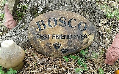 Pet Memorial Stone Dog or Cat Personalized engraved 8 to 9 River Stone