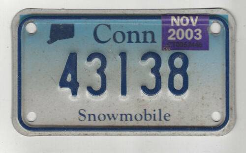 2003 CONNECTICUT SNOWMOBILE License Plate Tag 43138