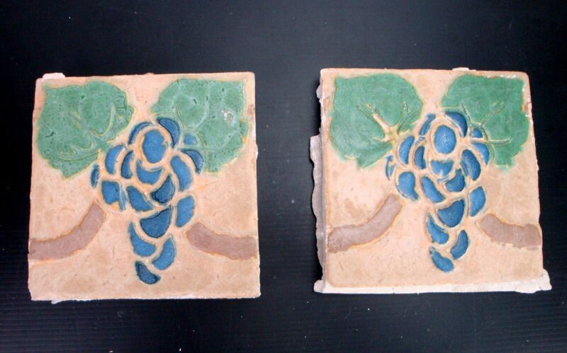 (2) VERY RARE - Grueby Tiles - (4 COLOR) w/BLUE GRAPES - 6x6 - with MAKERS MARKS