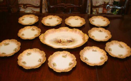 ANTIQUE LIMOGES COIFFE HAND PAINTED PLATTER & 11 PLATES DINNER SET, BIRDS GAME