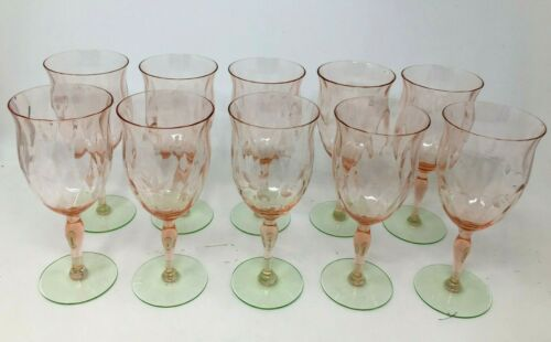 Set of 10 Vintage Depression Glass Tiffin Watermelon Water Goblets Etched Diamon