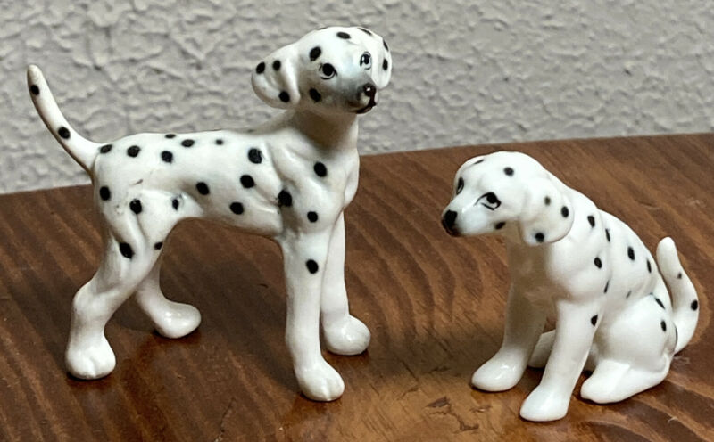 Vintage Bone China Miniature Dalmation Dog Figurine Set of 2