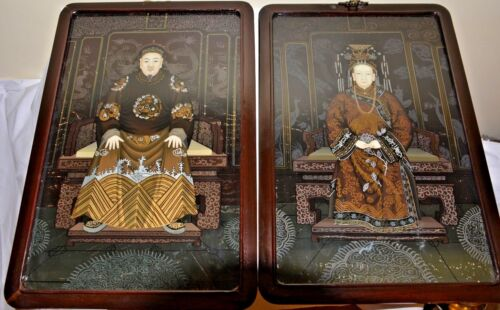 Antique Chinese Emperor Empress Ancestral Portrait Reverse Glass Painting frame
