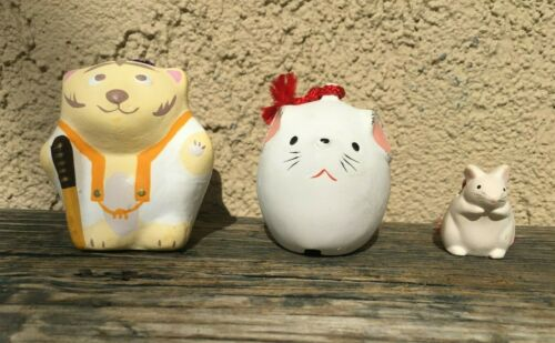 JAPANESE DOREI CERAMIC CLAY BELL ZODIAC LARGE MOUSE, TIGER, SMALL MOUSE JAPAN