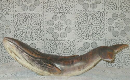 Vintage SPERM WHALE STATUE Figure Wood HANDCARVED Nautical Ocean Wildlife Animal