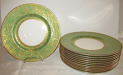 12 MINTON DINNER PLATES Gold BROCADE on Green Gold Encrusted Trim X1025 Excell