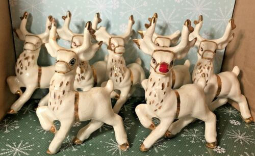 7 Vintage Reindeer w/ Rudolph Ceramic Christmas Holiday White Gold Mid Century
