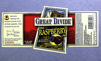 Great Divide Brewing Co WILD RASPBERRY ALE beer label CO 12 oz WRAP STYLE
