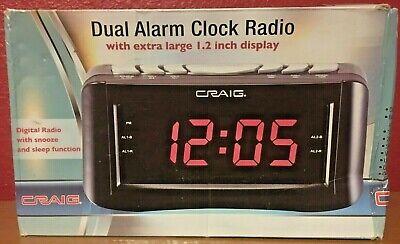 Clock Radio - Dual Alarm - Extra Large Digital 1.2 LED Display - Craig