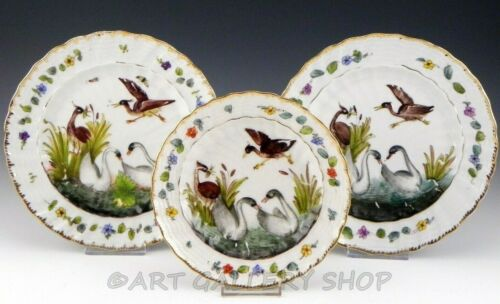 Antique Dresden Germany HANDPAINTED SWANS & HERONS BIRDS CABINET PLATES Set 3