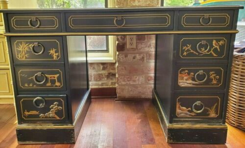 SLIGH Vintage CHINOISERIE Black Leather Top with Gold Leafing WRITING DESK
