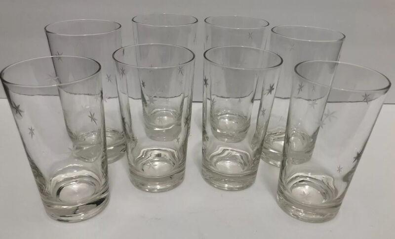 8 Vintage Atomic Starburst Etched MCM Drinking Glass Tumbler Cup 8oz 10oz 4 Each
