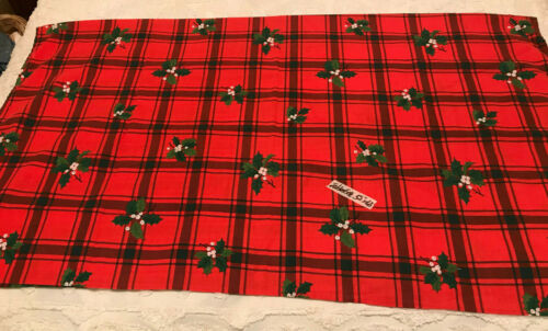 SPRINGS MILLS RED & BLACK CHECKED CHRISTMAS HOLLY TABLECLOTH 52 X 60