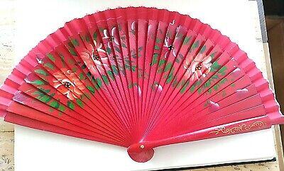 Abanico coleccion reversible color rojo cara detalles florales