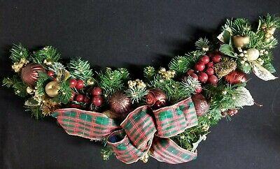 Christmas Mantel Swag Holiday Garland Custom Decorated Red Gold Balls - Christmas Mantel Decorations