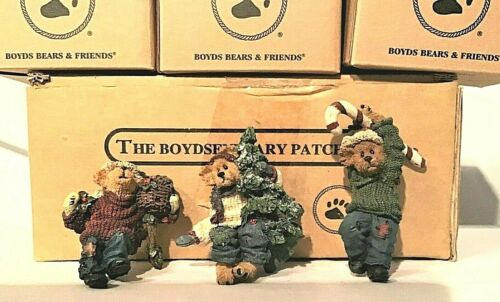 BOYDS THE BOYDSENBEARY PATCH SET OF 3 CHRISTMAS FIGURINES PLANT GARDEN HANGERS