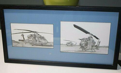 Framed Print of AH-1F Cobra & UH-60 Blackhawk - Dewey Davidson