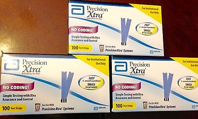 3 BOXES of 100 Precision Xtra Glucose Diabetic Test Strips exp 12/31/2017