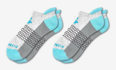 2-Pack Bombas Men's Ankle Socks ~Ocean Blue-Gray-Dark~ Honeycomb Size Medium NWT