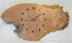 Natural Edge Wall Clock - Maple Burl - ABout 20 inches by 12