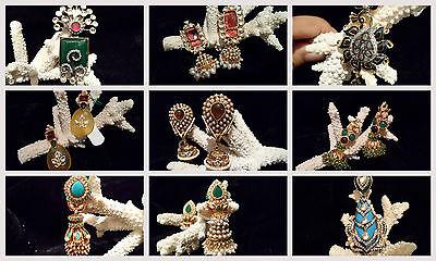 Designer Real Gems, Quartz, Turquoise, Kundan, Polki 22k Gold Plated Earring