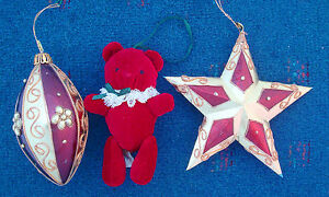 lot-3-Christmas-ornaments-Hallmark-burgundy-teddy-bear-star-tear-drop