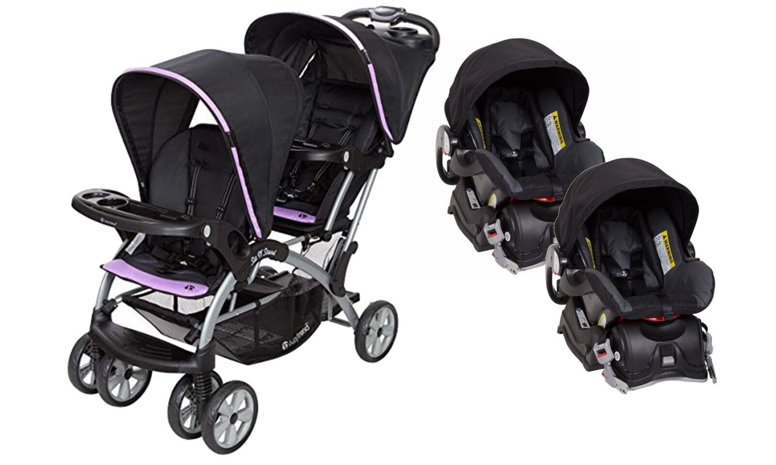 Double Stroller Baby Trend Sit n Stand Two Infant Car Seat C
