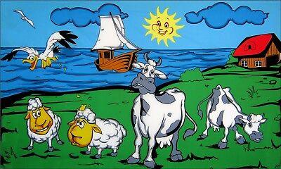 Hof Flagge (Fahne Flagge - Küste Kühe Schafe Bauernhof Urlaub - 90 x 150 cm, mit 2 Ösen)