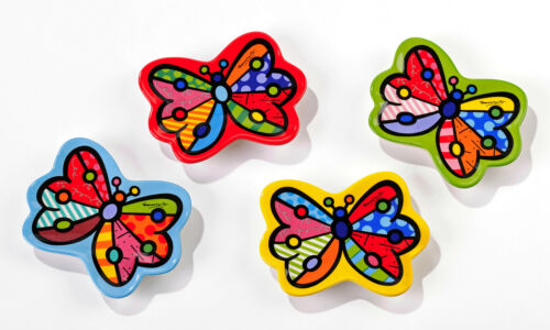 Romero Britto Set of 4 Ceramic Butterfly Teabag Holders * NEW *