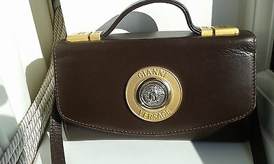 Gianni Versace Vintage Leather Medusa Head Brown Handbag