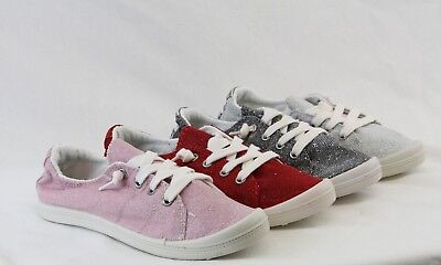 Women Flexible Comfortable Glitter Sneaker Lace Up Shoes Flat Shiny Design  ()