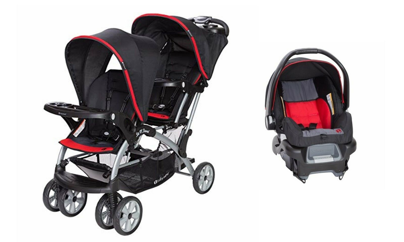 sit n stand double stroller with infant