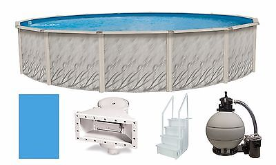 """Above Ground 27'x52"""" Round Meadows Swimming Pool w/ Liner, Step, Filter Kit"""