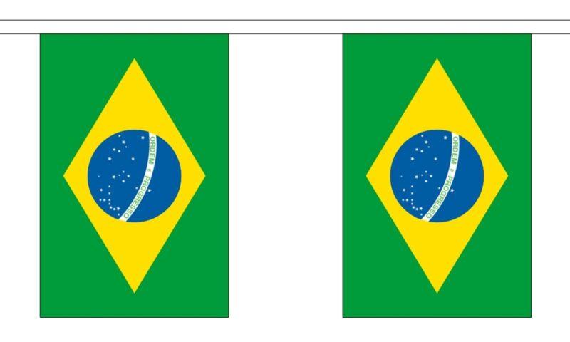 BRAZIL 3 METRE BUNTING 10 FLAGS flag 3M RIO DE JANEIRO BRAZILIAN