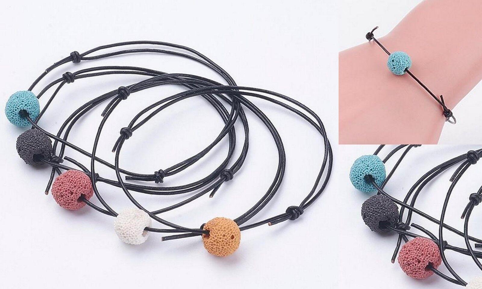 Multi Color Leather Lava Bead Aromatherapy Diffuser Scent Bracelet