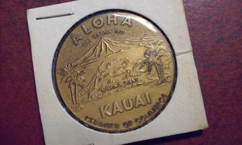 1975 HAWAII DOLLAR Brass Aloha Kauai & Prince Kuhio Chamber Of Commerce encased