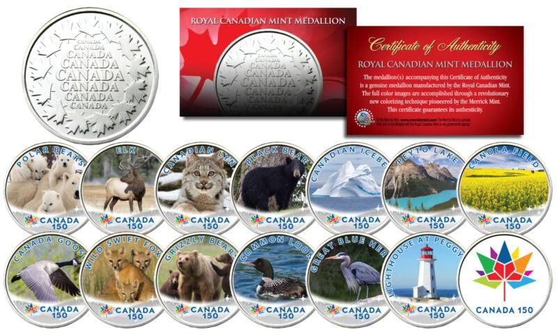 CANADA 150 CELEBRATION RCM Royal Canadian Color Medallions SET of 14 - WILDLIFE