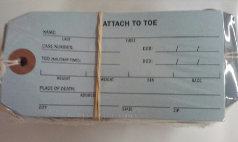 coroner and funeral home toe identification tag 50 tags 5.25 x 2.625 met002lb6