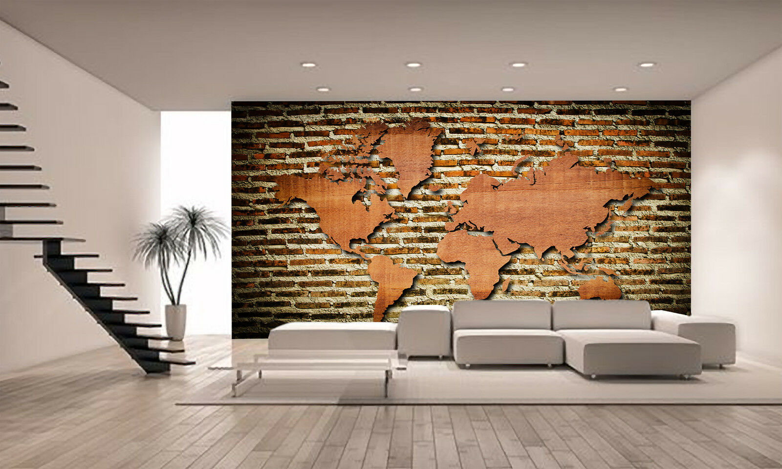 World Map With Wood Texture Wall Mural Photo Wallpaper Giant Poster