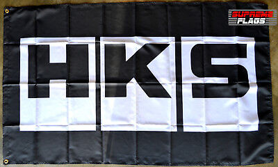 Car Parts - HKS Flag Banner 3x5 ft Japanese Aftermarked Car Parts Garage Black