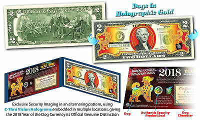 2018 Chinese Lunar New Year U S   2 Bill Gold Hologram Year Of The Dog Blue