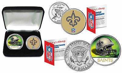 NEW ORLEANS SAINTS Officially Licensed NFL 2-COIN SET w/ Deluxe Display Box