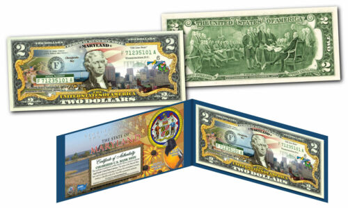 MARYLAND LICENSED COLORIZED $2 Bill Honoring America