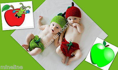 ★★★NEU Fotoshooting Kostüm Zwillinge Kleine Äpfel rot oder grün 0-6 Monate★★AC